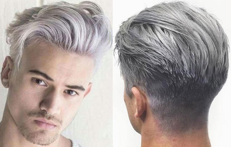 Мужское окрашивание волос в пепельный цвет.